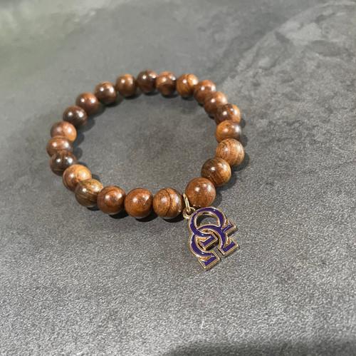 Omega Psi Phi Wood Bracelet with Omega Omega Charm