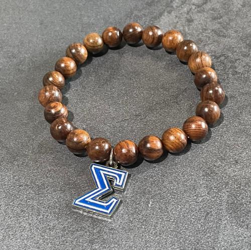 Phi Beta Sigma wood bracelet with Sigma charm