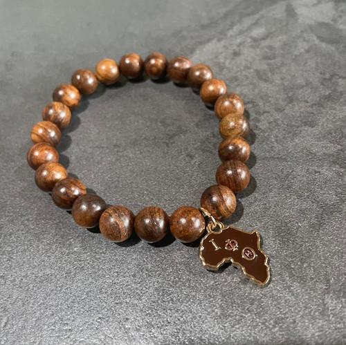 Iota Phi Theta wood bracelet with Africa charm