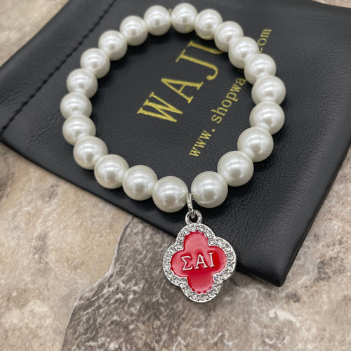 Pearl Bracelet with Sigma Alpha Iota Charm