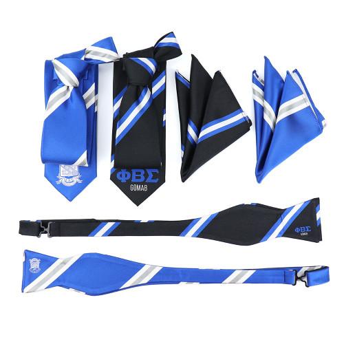 Phi Beta Sigma Silk Tie Set - Black Gomab