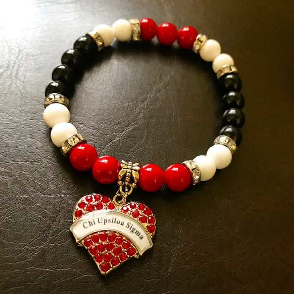 Chi Upsilon Sigma Bead Bracelet