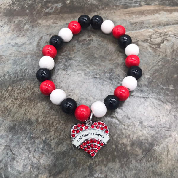 Chi Upsilon Wood Bracelet