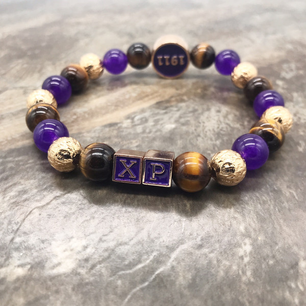 Custom Omega Chapter Bracelet with circle focal piece