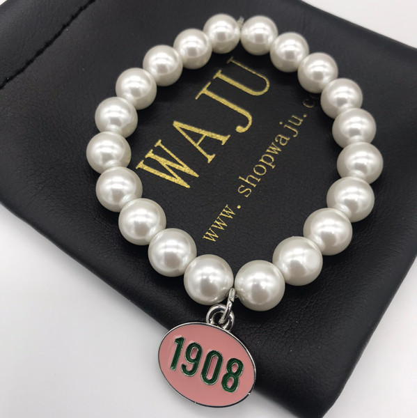 Pearl Bracelet with Rhinestone 1908 Charm
