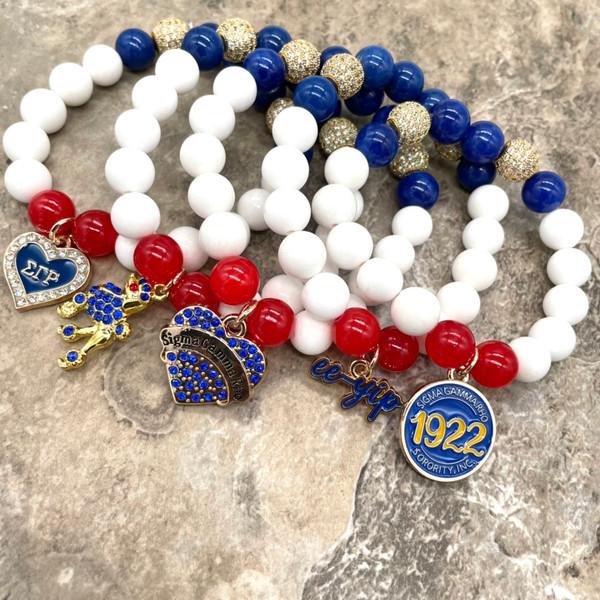 "Sigma Gamma Rho ""10 and 2"" Bracelet with charm"