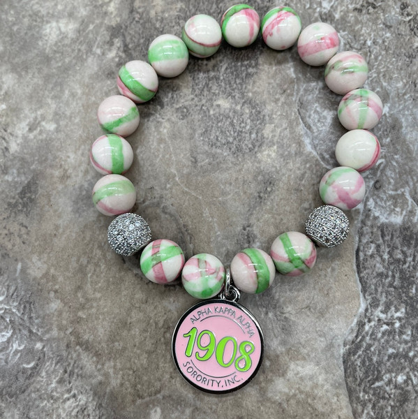 "Alpha Kappa Alpha ""Maci"" bracelet with  circle 1908 charm"