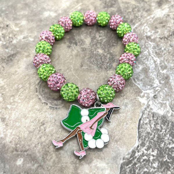 Alpha Kappa Alpha bling Bracelet with charm
