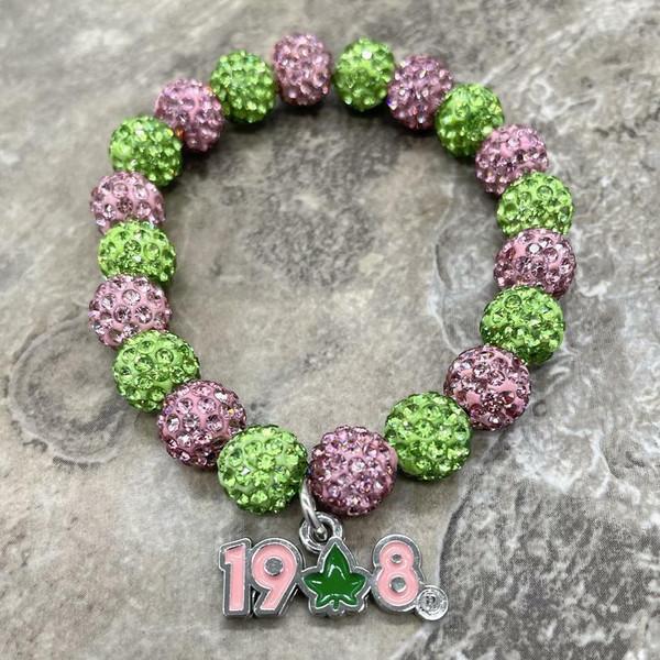 Alpha Kappa Alpha bling Bracelet with Ivy 1908
