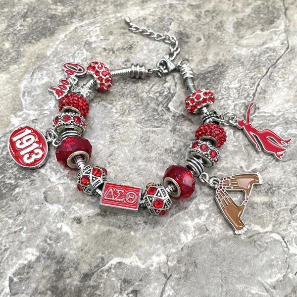 Delta Sigma Theta European Bracelet with rectangle bead