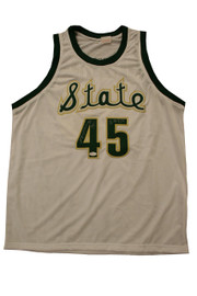 Autographed Denzel Valentine white throwback jersey. These throwbacks are have the cursive font on the front of the jersey with the gold trim around logo and number. Denzel was voted the 2016 AP Player of the Year. Valentine was recently drafted by the Chicago Bulls in the first round of the 2016 NBA Draft. Denzel Valentine will be wearing, his number, 45 when he steps foot on the United Center court this season.