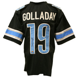 Show everyone who the true fan is with this Kenny Golladay Autographed Custom Black Football Jersey, with its classic style. Cheer on the Honolulu blue and silver on game day with stitched numbers and lettering to make it feel like the real thing. Autographed by Kenny Golladay in our store on Saturday, October 21, 2017. Comes with authentication sticker and certificate of authenticity.