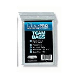 The Ultra Pro resealable team bags are great for holding and protecting your card sets. They are made from clear polypropylene and come with a resealable strip.