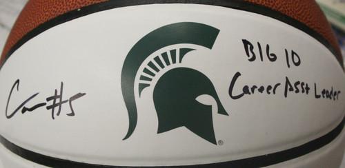 CASSIUS WINSTON MSU SPARTANS Signed Baiden Basketball ~ Big 10 Career Asst Leader Inscription