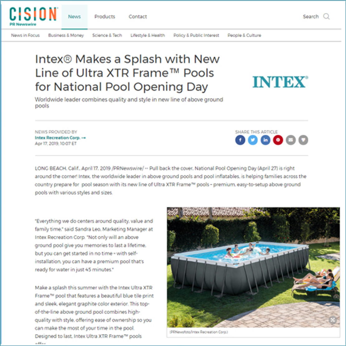 4/17/2019 - Intex® Makes a Splash with New Line of Ultra XTR™ Frame Pools for National Pool Opening Day
