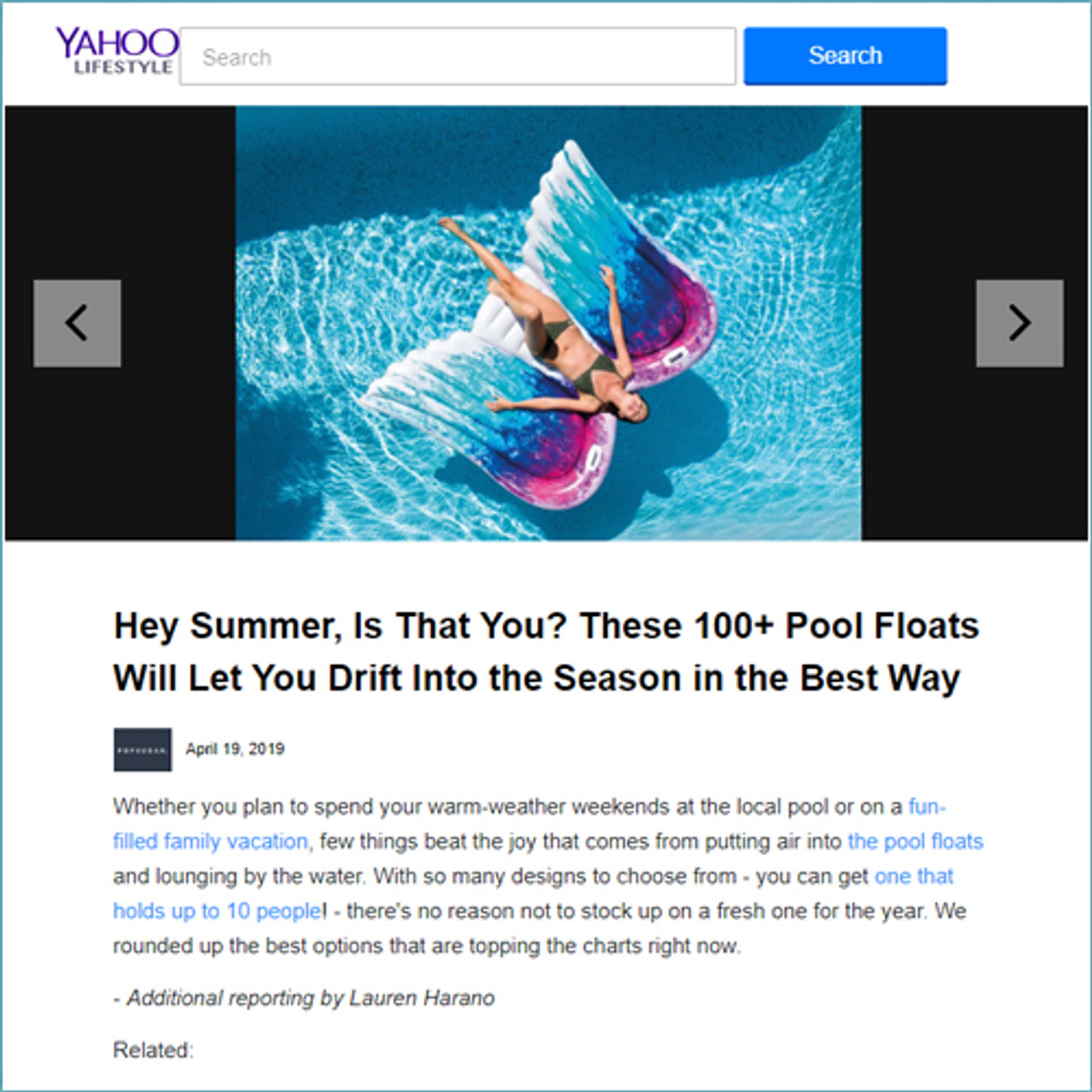 5/7/2019 - Intex Angel Wing Mat Ranks First on the Top 100 Pool Floats by Yahoo!