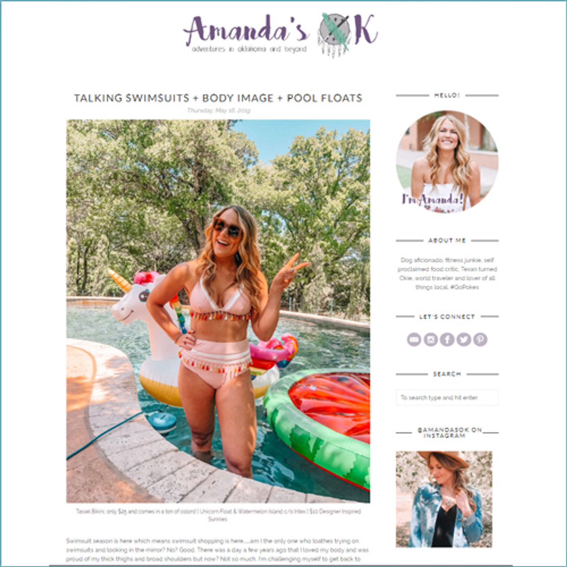 5/17/2019 - Check out lifestyle blogger Amanda as she talks about swimsuits and her favorite INTEX POOL FLOATS!