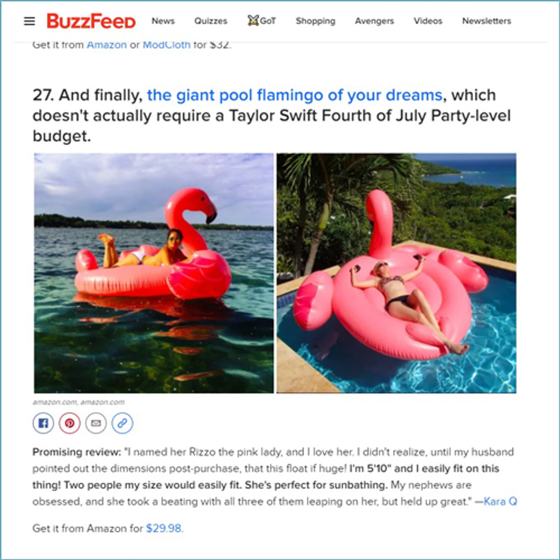 5/16/2019 - The Intex Mega Flamingo Island was Mentioned in BuzzFeed's Summer Shopping List