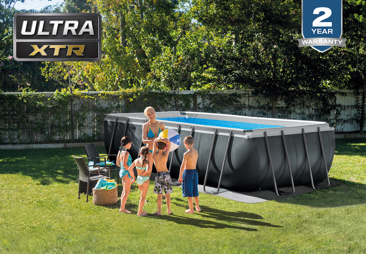 Intex 18ft X 9ft X 52in Ultra Xtr Frame Rectangular Above Ground Swimming Pool Set With Sand Filter Pump