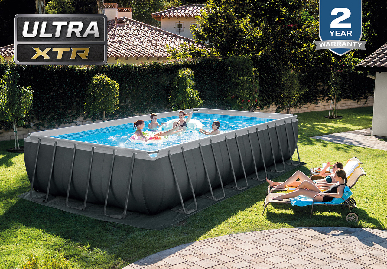 Intex 24ft X 12ft X 52in Ultra Xtr Frame Above Ground Swimming Pool Set With Sand Filter Pump Saltwater System