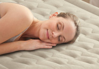 18in Queen Dura-Beam Headboard Airbed with Built-In Electric Pump