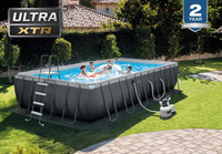 24ft X 12ft X 52in Ultra XTR Frame Rectangular Pool Set with Sand Filter Pump