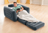 Watch TV, read a book, or just relax in the velvety soft chair and then pull out the cushion into twin air mattress when you are ready to go to sleep.