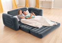Quick and easy to inflate, this sofa conveniently pulls out into a queen size bed and sleeps two people.