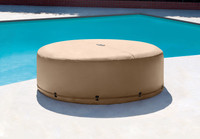 Cover helps protect spa from punctures, scratches and weather damage Includes belt with locking safety buckle