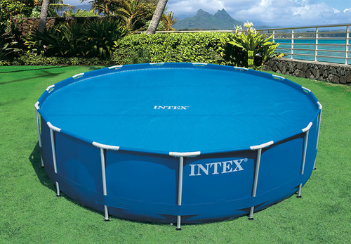 Solar Round Swimming Pool Cover Protector,8ft//10ft//12ft //15ft Diameter Anti-Evaporation Swimming Pool Insulation Film,Dustproof SolarThermal Blanket,Place Bubble-Side Down in Pool,Easy Set 10ft