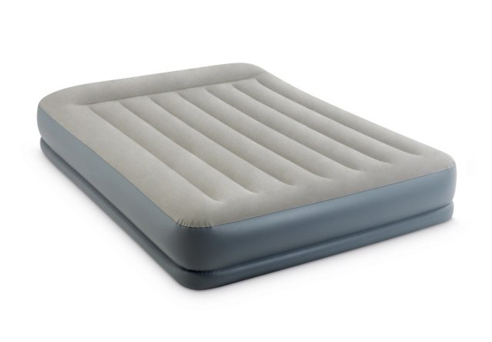 12in Queen Pillow Rest Mid-Rise Airbed with Built-In Electric Pump