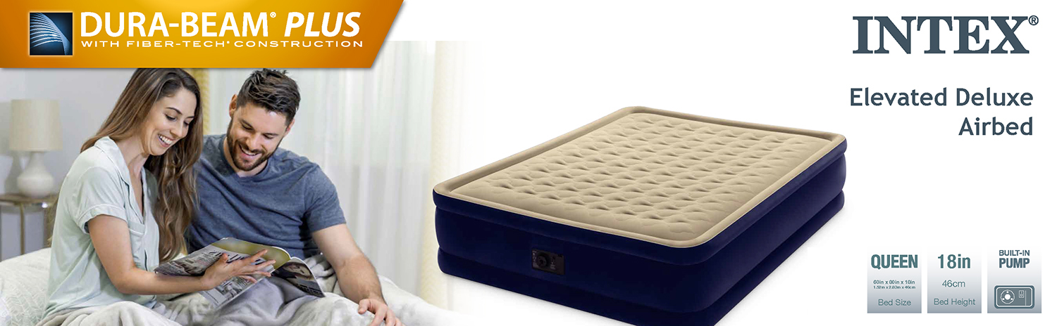 Intex Dura-Beam Plus Elevated Deluxe Airbed with Fiber-Tech Construction