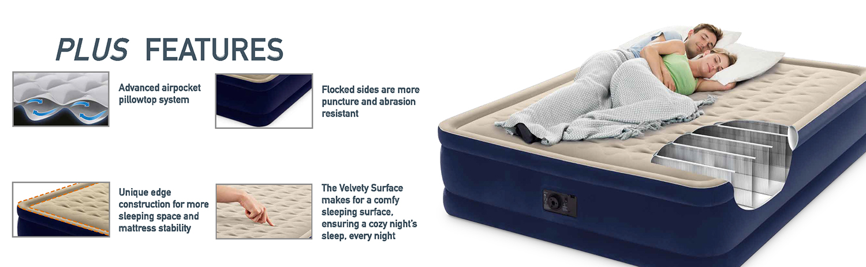 Intex Dura-Beam Plus Elevated Deluxe Airbed Features