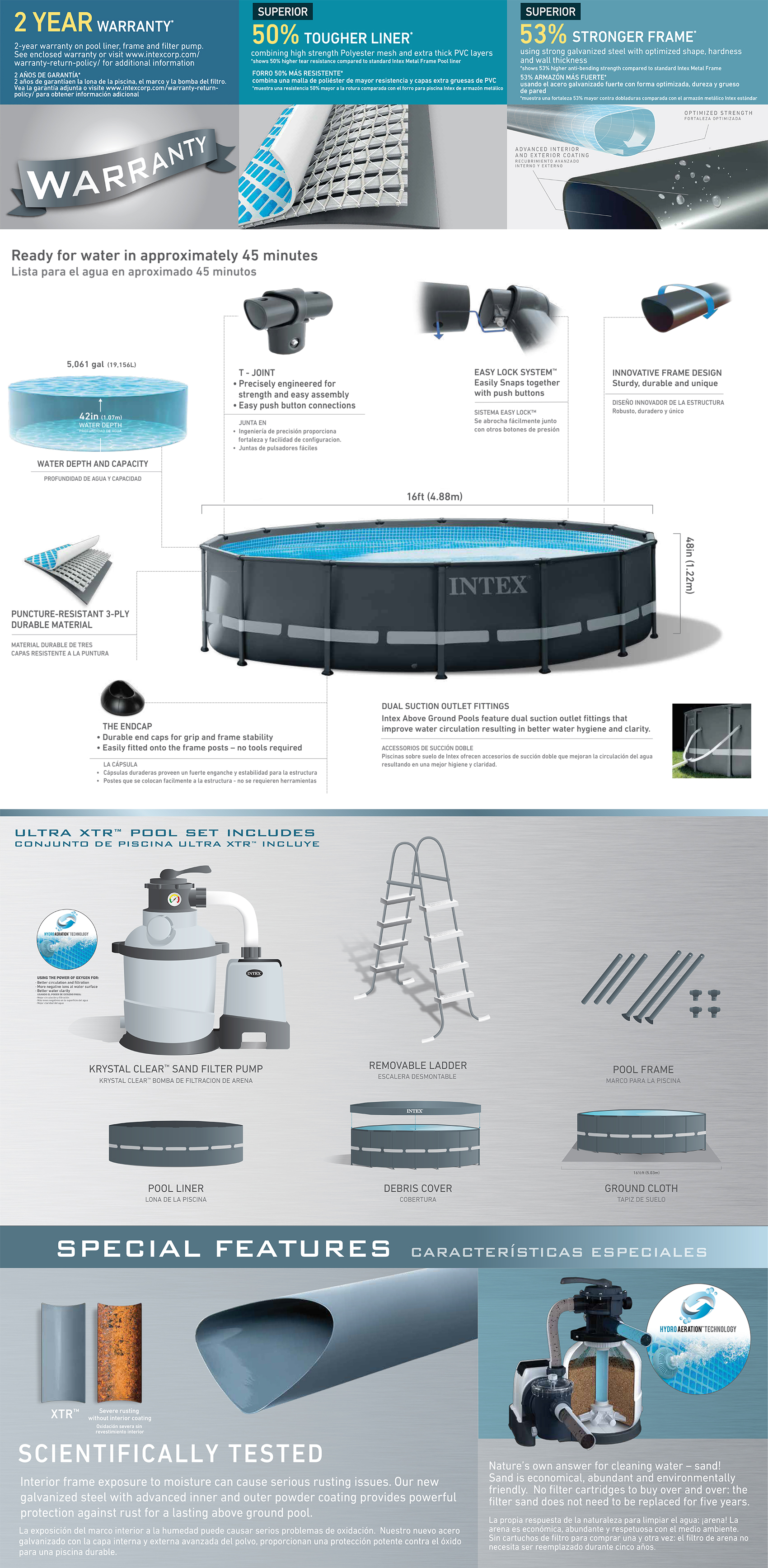 16ft X 48in Ultra XTR Frame Pool Set with Sand Filter Pump