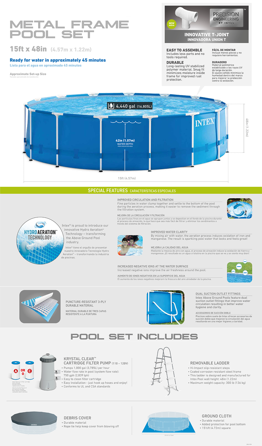 15ft X 48in Metal Frame Pool Set