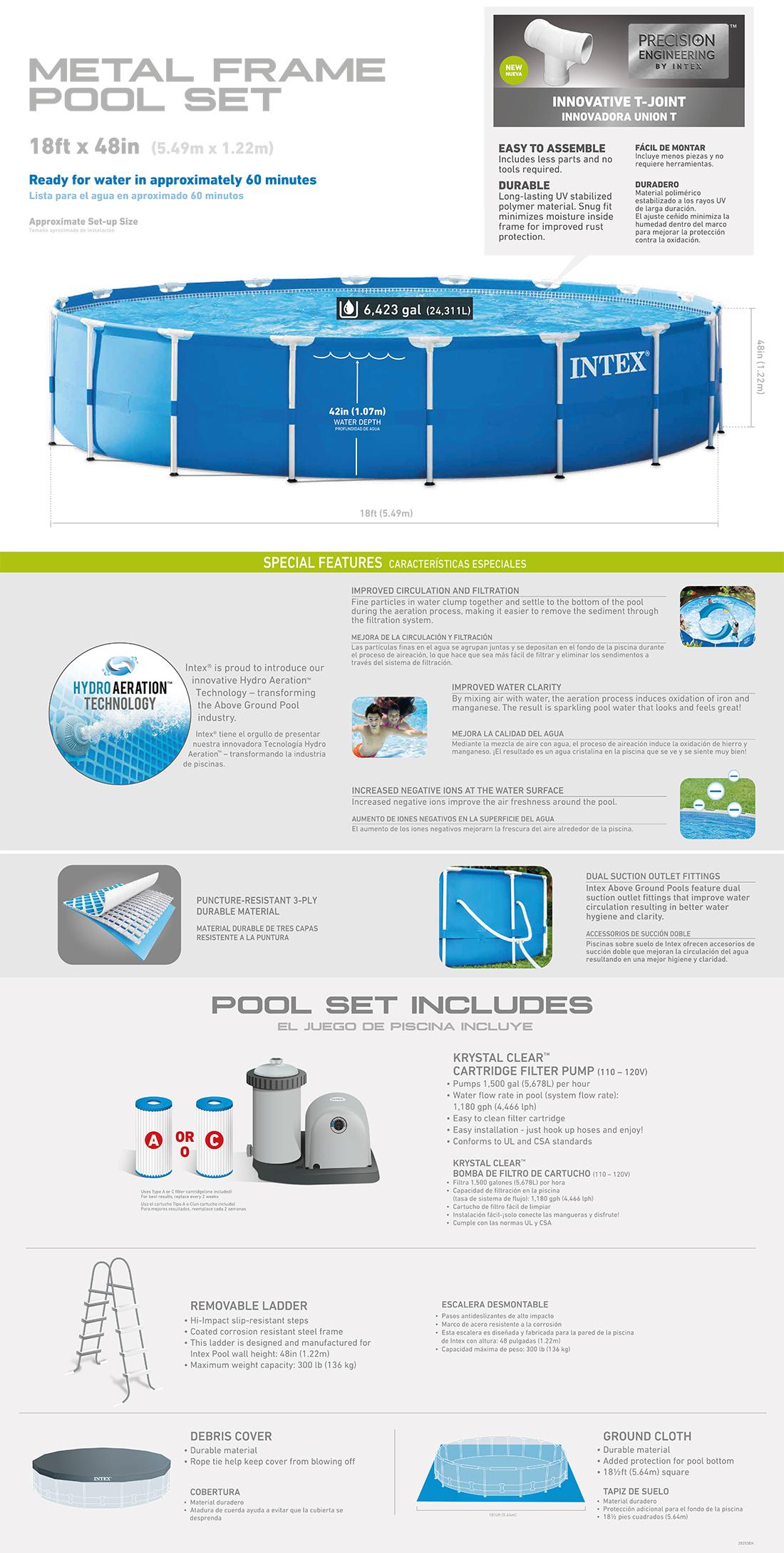 18ft X 48in Metal Frame Pool Set