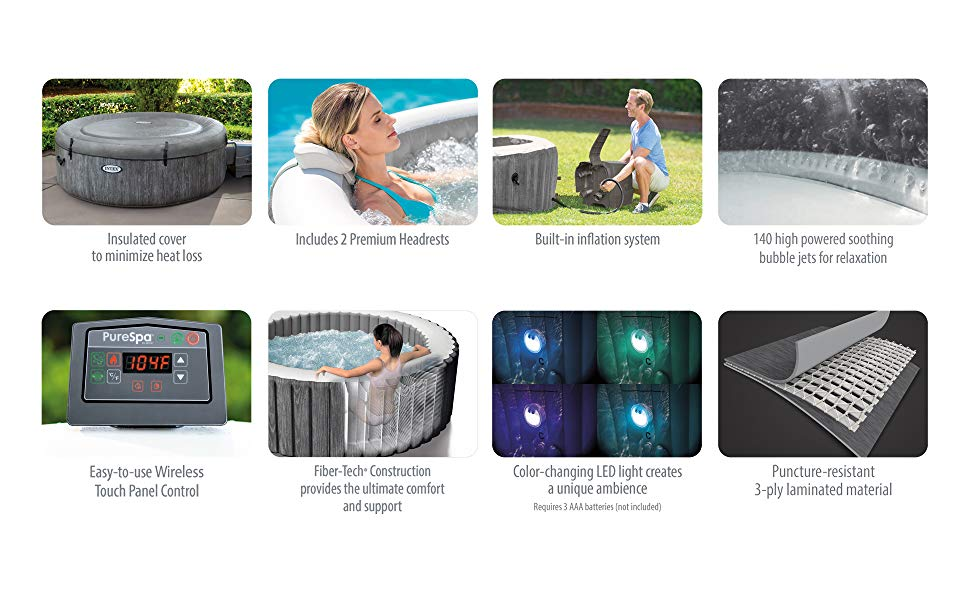 Insulated cover to minimize heat loss; includes 2 premium headrests; built-in inflation system; 140 high powered soothing bubble jets for relaxation; easy-to-use wireless touch panel control; fiber-tech construction provides the ultimate comfort and support; color-changing LED light creates a unique ambience; puncture-resistant 3-ply laminated material