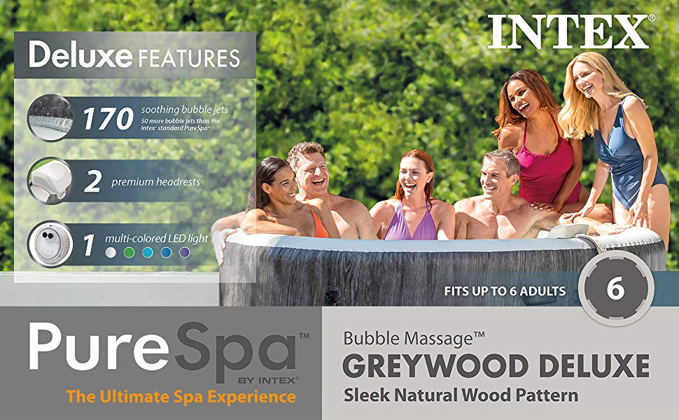 Deluxe Features 170 soothing bubble jets; 2 premium headrests; 1 multi-colored LED light. PureSpa by Intex, The Ultimate Spa Experience; Fits up to 6 adults.