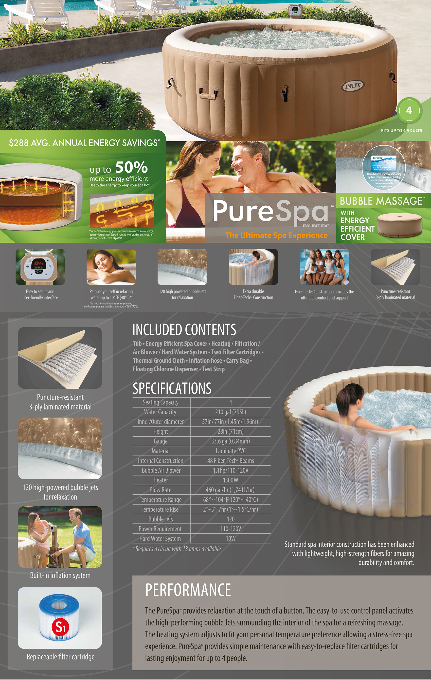 77in X 28in PureSpa Bubble Massage Spa with Energy Efficient Spa Cover