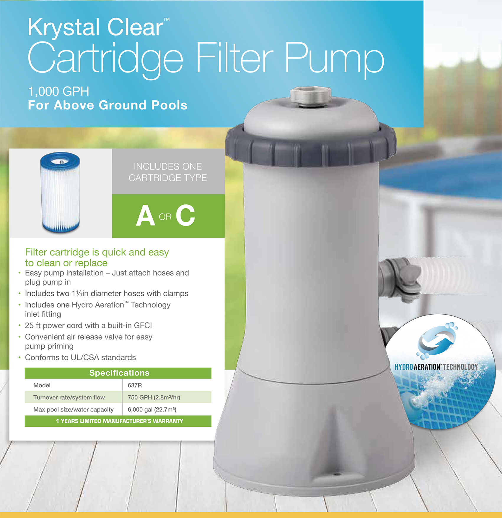 1000 Gph Krystal Clear Cartridge Filter Pump, 110-120V with GFCI