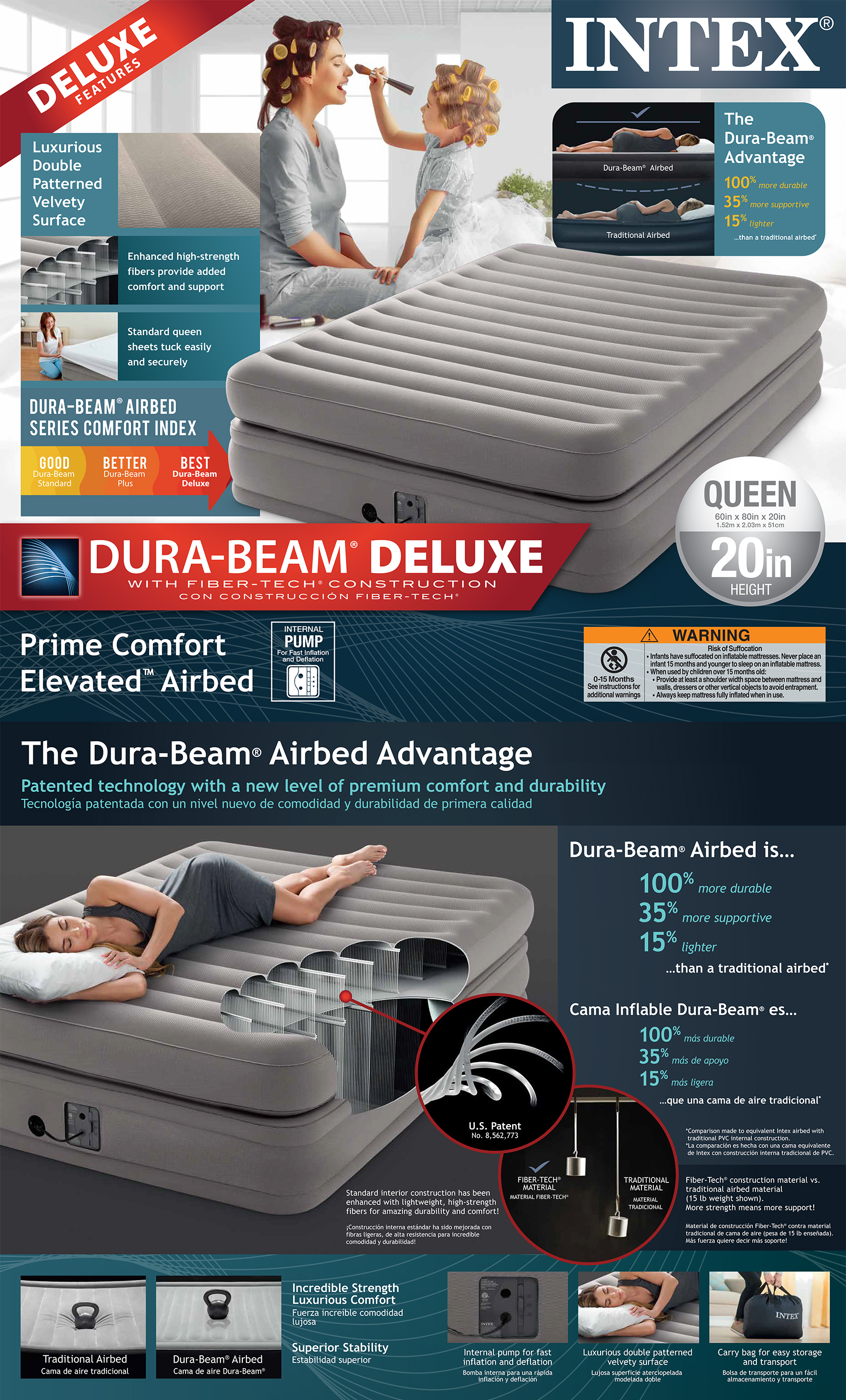 20in Queen Dura-Beam Prime Comfort Elevated Airbed with Internal Pump