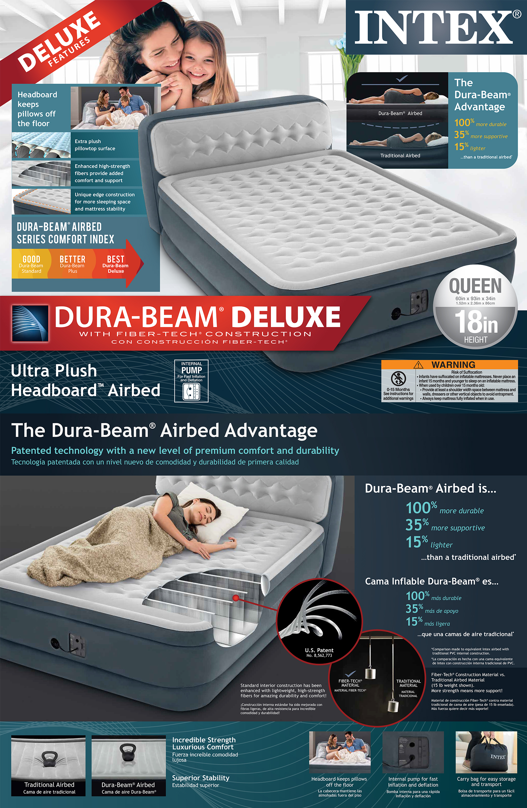 18in Queen Dura-Beam Ultra Plush Headboard Airbed with Internal Pump