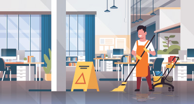 Cleaner at work with broom and apron