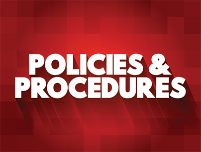 Policies and procedures banner with shadowed text