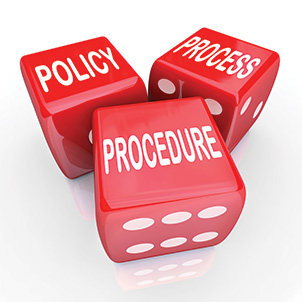 three red dice showing policy, process and procedure|SafetyDocs