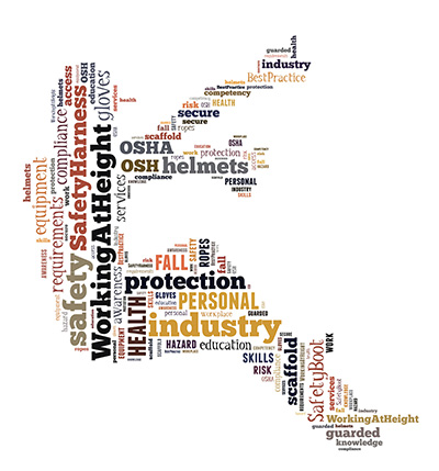 Working at height tag cloud in the shape of a worker at height|SafetyDocs