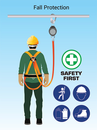 Worker at height in a safety harness and hard hat|SafetyDocs