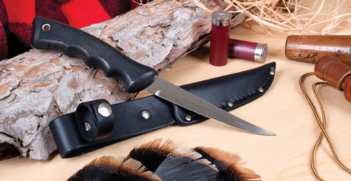 Sportsman Knife w/Leather Scabbard