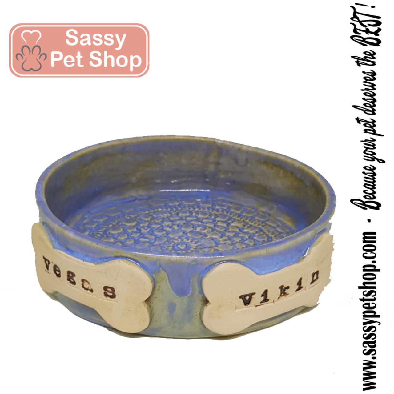 Twisted Tree-Personalized Dog Bowl- MEDIUM -2 NAME-Handmade in UAE