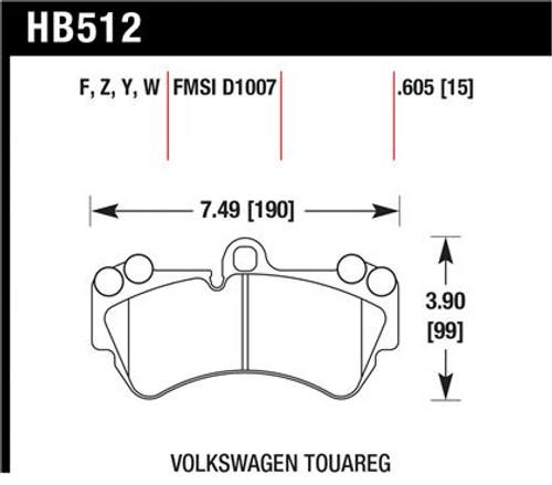 Hawk HPS Front Brake Pads for MK1 Touareg
